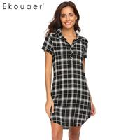 Ekouaer Down Turn Women Nightgown Night Dress Collar Short Sleeve Plaid Sleepshirt Nightgown Lounge Sleepwear Female