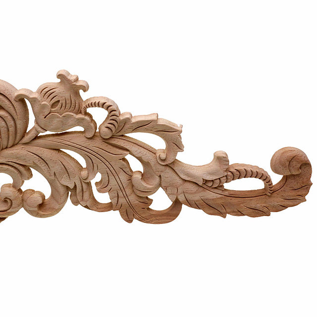 RUNBAZEF European Style Real Wood Long Floral Carving Applique Home Decoration Accessories Door Cabinet Furniture Figurines 5