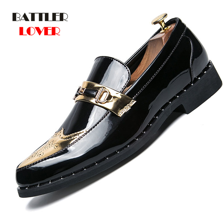 New Arriving Men Dress Patent Leather Shoes Brogue Flats loafers Sneakers Bussiness Shoes New Mens Casual Classic Oxford