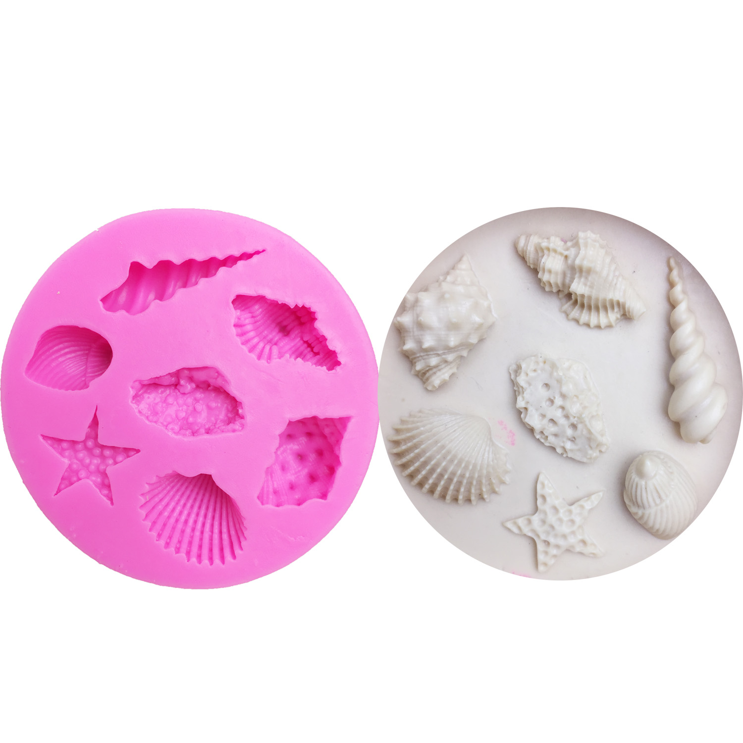 M0122 Marine Series Conch Starfish Shells Shellfish Silicone Mold Felly Cake Baking Candle Soap