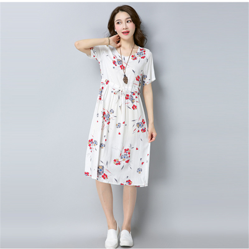 8f0bb58e0a1 ... new fashion cotton linen vintage print plus size women casual loose  summer dress vestidos femininos 2018 ...