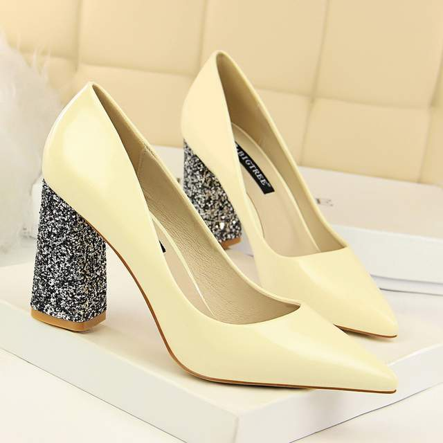 sexy high heels party pumps women shoes high heel italian euro square heel  shoes woman patent 65045b45fa11