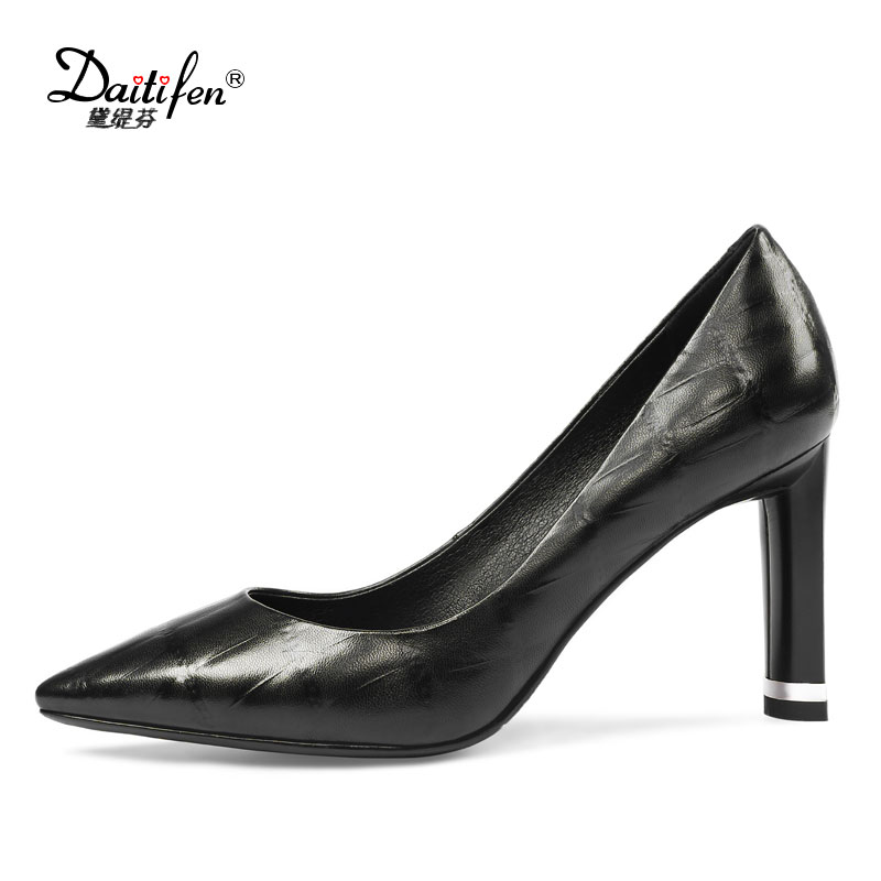 Daitifen Spring Mature Sexy Women High Heels Stone Pattern Genuine Leather Ladies Office Shoes -4761