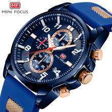 цена Multi-function sports men's watch three-eye six-needle calendar luminous waterproof silicone belt онлайн в 2017 году