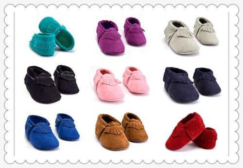 Ilk Yürüyüşe Bebek Yumuşak Taban püskül Ayakkabı Bebek Erkek Kız Toddler 0-18 M