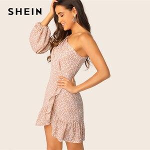 Image 4 - שיין לעופף פרחוני פנס כתף שרוול לפרוע שמלת 2019 Boho ורוד גבוהה מותניים לעטוף נשים אביב קיץ שמלות