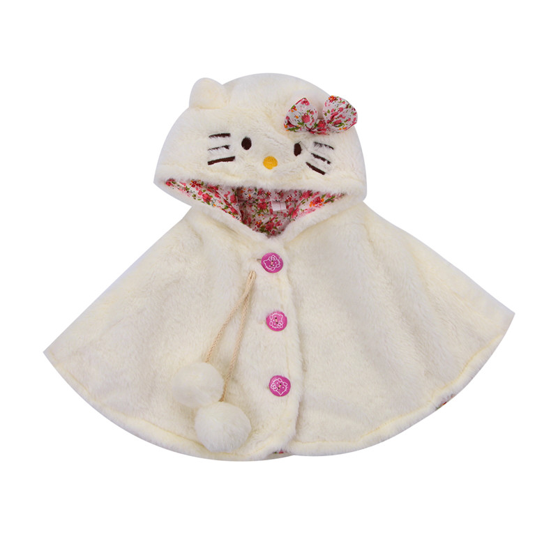 Hot Baby Clothing Cute Cat Hooded Cloak Poncho Jacket Outwear Winter Warm Coat Costume Cape Shawl Wrap Coat Outwear 0-24Months