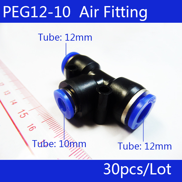 Free shipping 30pcs PEG 12MM - 10MM Pneumatic Unequal Union Tee Quick Fitting Connector Reducing Coupler PEG12-10 free shipping 30pcs pneumatic 8mm to 8mm t shaped quick fitting connector pe8