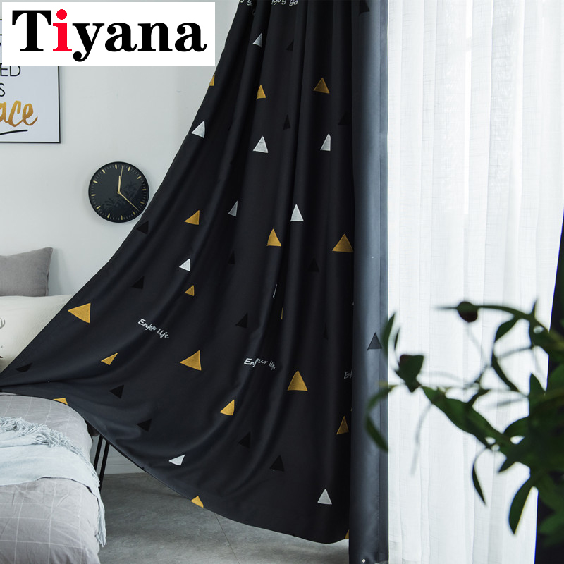 Modern Geometric Blackout Blinds Room Printed Curtains Kids Boy Girl Bedroom Black Cortinas White Tulle Window Drapes P244X