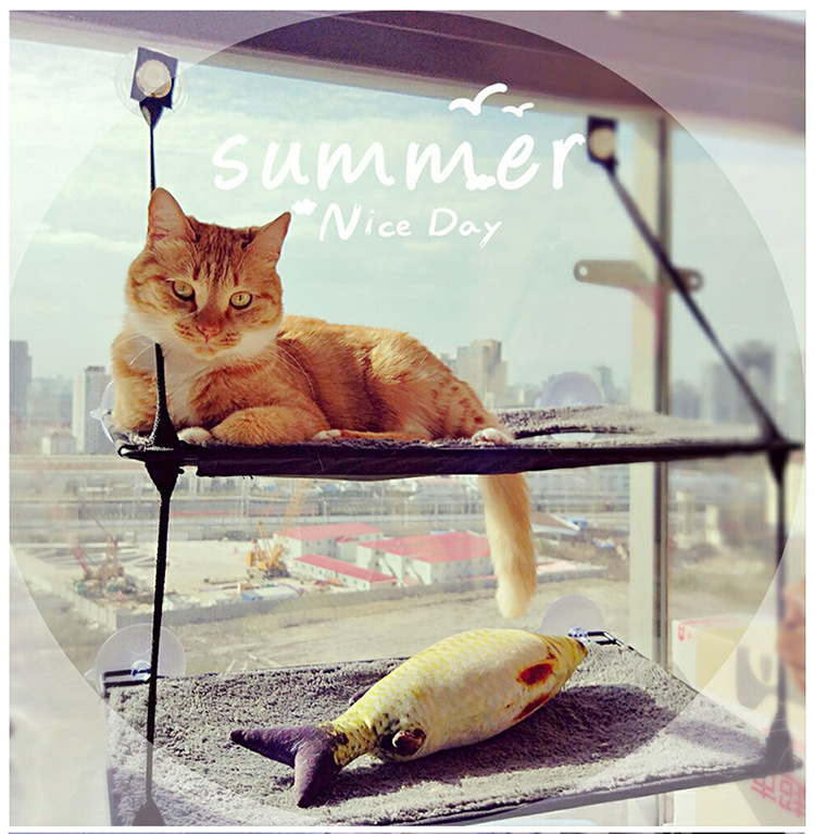 Cat Lounger Cat Hammock Bed Mount Window Cat Lounger Suction Cups Warm Bed For Pet Cat Rest House Soft Comfortable Bed #5