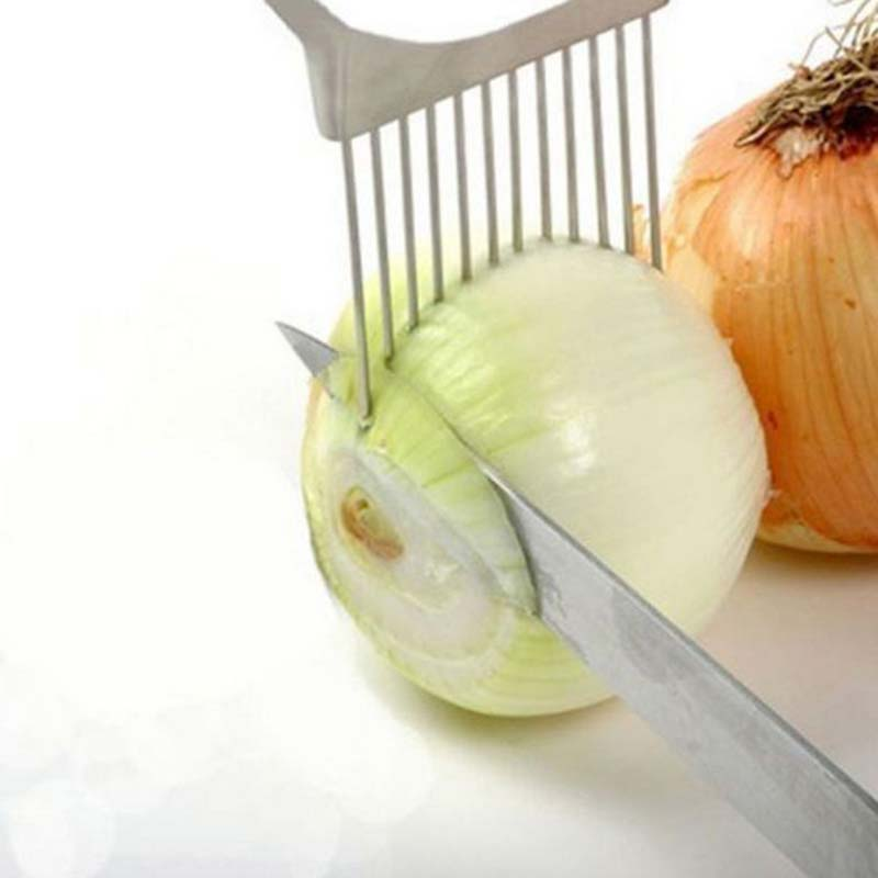 1PCS Onion Tomato Slicer Cutting Aid Guide Holder Fork Stainless Steel Fruit Vegetable Slicing Cutter Kitchen Cooking Tools DA