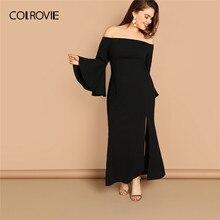 a3a6e1a9106 COLROVIE Plus Size Black Slit Front Fishtail Bardot Off The Shoulder Party Dress  2019 Spring Flounce Sleeve Split Maxi Dress