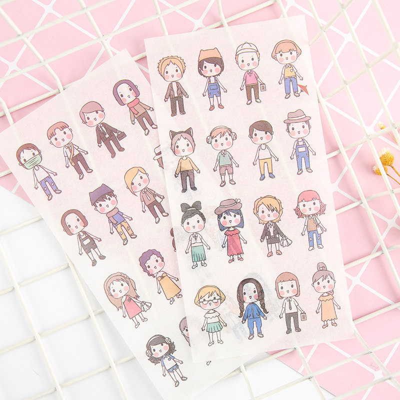 6PCS Cute Cartoon Children Paper Stickers DIY Diary Stickers For Planner Album Kawaii Japanese Stickers Scrapbooking Stationery