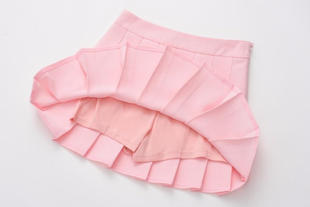 summer new A-line high waist pleated skirt college wind skirt