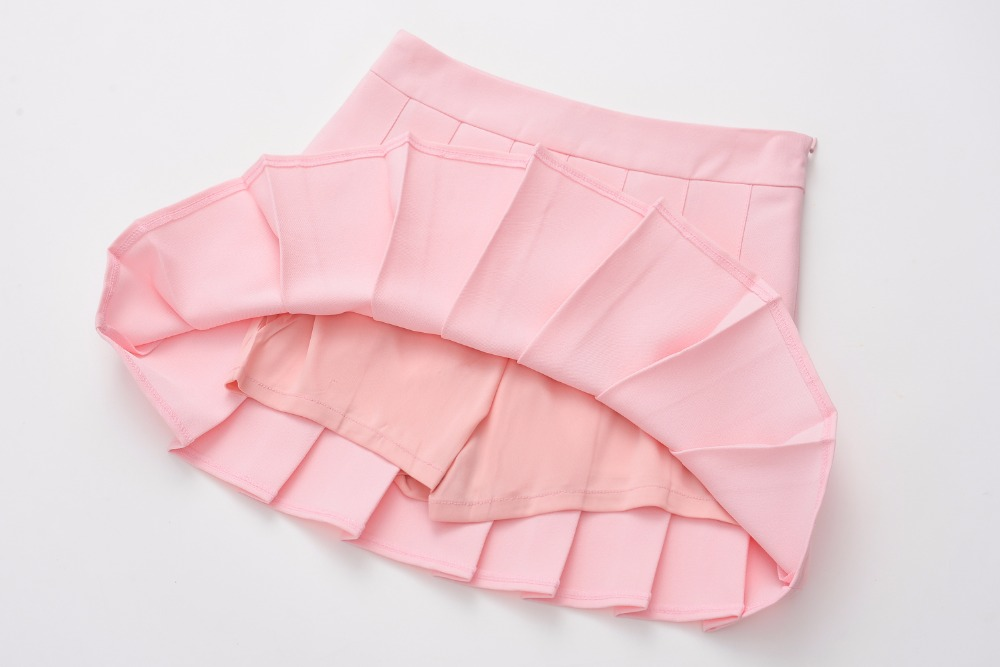 summer new A-line high waist pleated skirt college wind skirt