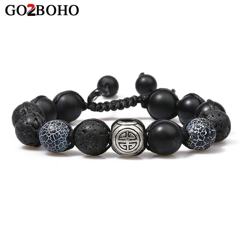 Go2boho New DIY Braiding Adjustable Bracelets Men Black Lava Stone Beads Prayer Statement Bracelet Meditation Pulseira Masculina