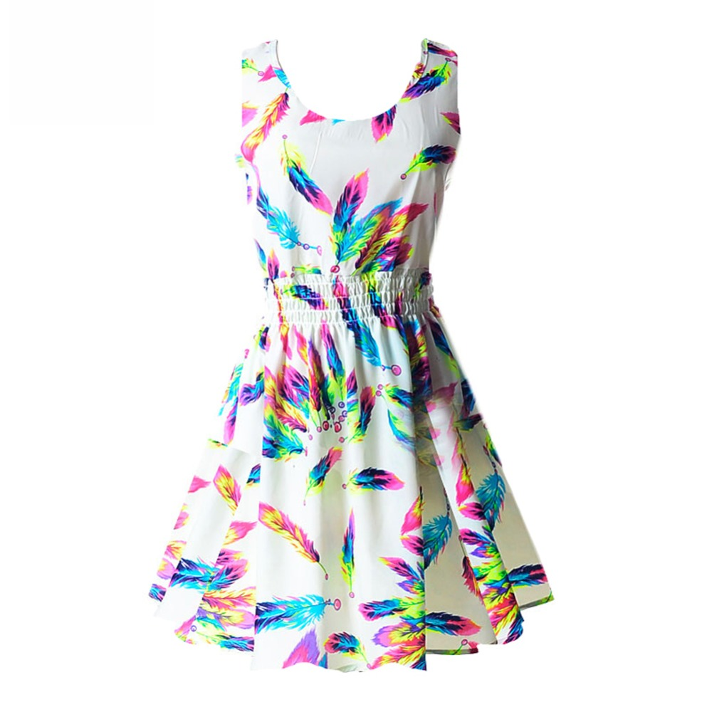 Summer Sexy Women Tank Chiffon Beach Dress Sleeveless Floral Mini Dresses Vestidos For 21 Colors