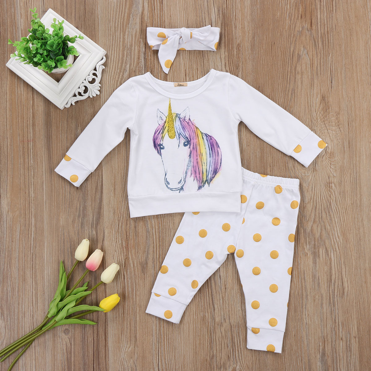 e97408e07adbc UK Unicorn Newborn Baby Girl Kid Outfit Clothes Long sleeve T shirt dot  Pants Headband 3pcs autumn clothes Set-in Clothing Sets from Mother & Kids  on ...