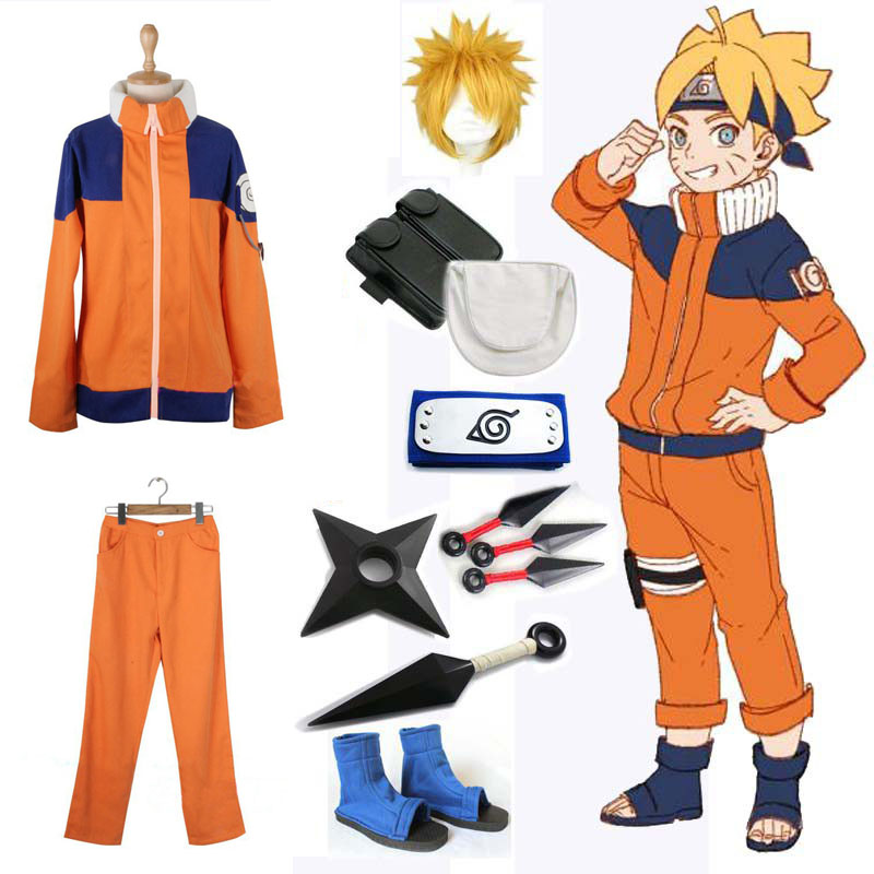 Naruto Shippuden Uzumaki Naruto 1st Cosplay Costume Adult Men Fancy Party Uniform Outfit With Weapon Props For Halloween Costume
