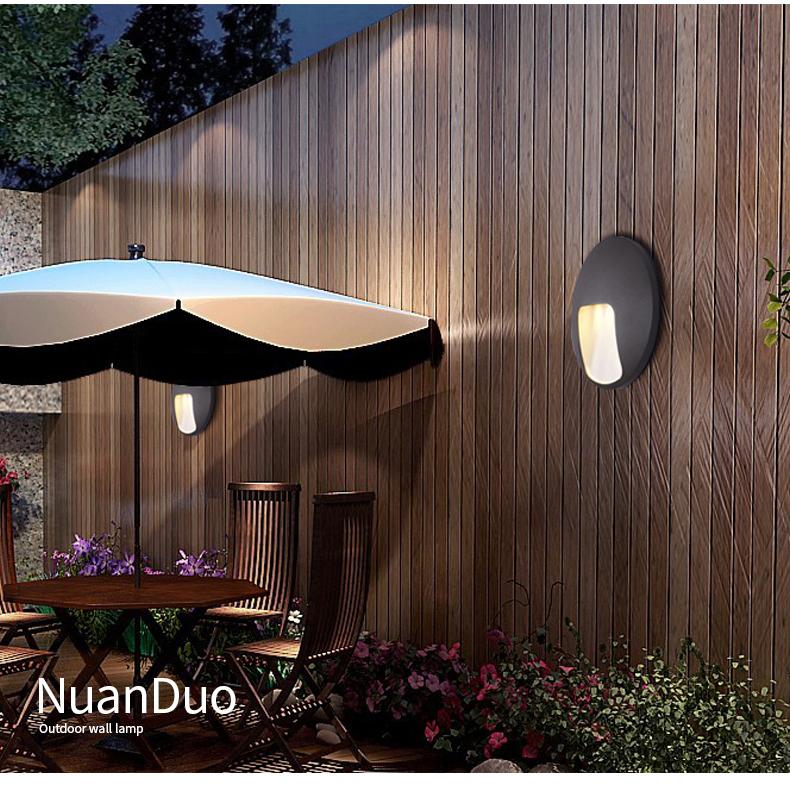 новый алюминий в виде ракушки круговой открытый настенный светильник водонепроницаемый 3 вт теплый белый светодиод внутренней отделки освещение для крыльцо сад балкон