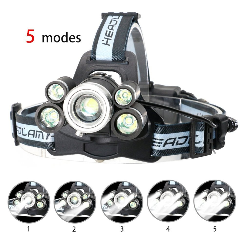 UltraFire LED Headlamp Rechargeable With 18650 Li-ion Batteries,Zoomable Head Torch 800 Lumens CREE XM-LT6 5 Modes USB Headlight ultrafire nh t60 ha ii xm lt6 5 mode 975 lumen white led flashlight with strap 1 x 18650