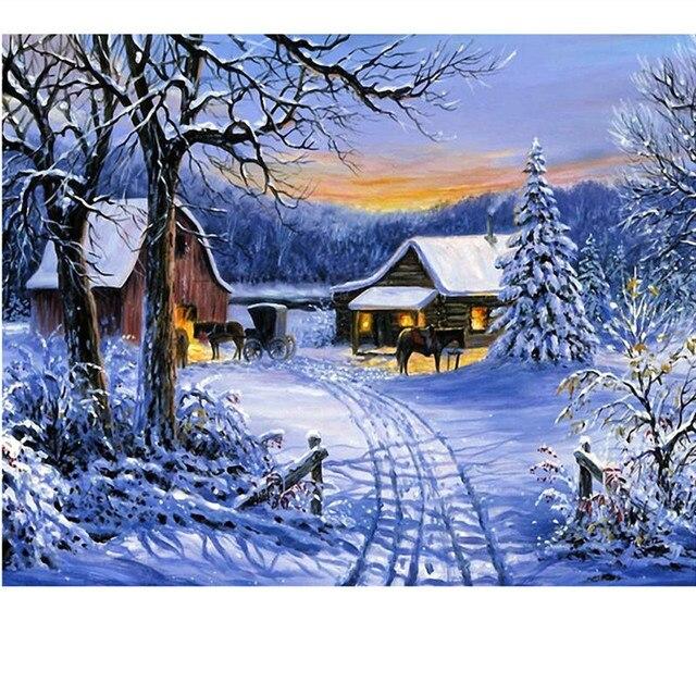 Diy Diamond Painting Cross Stitch Horse Embroidery Fashion Oil Winter Snow Landscape Mosaic
