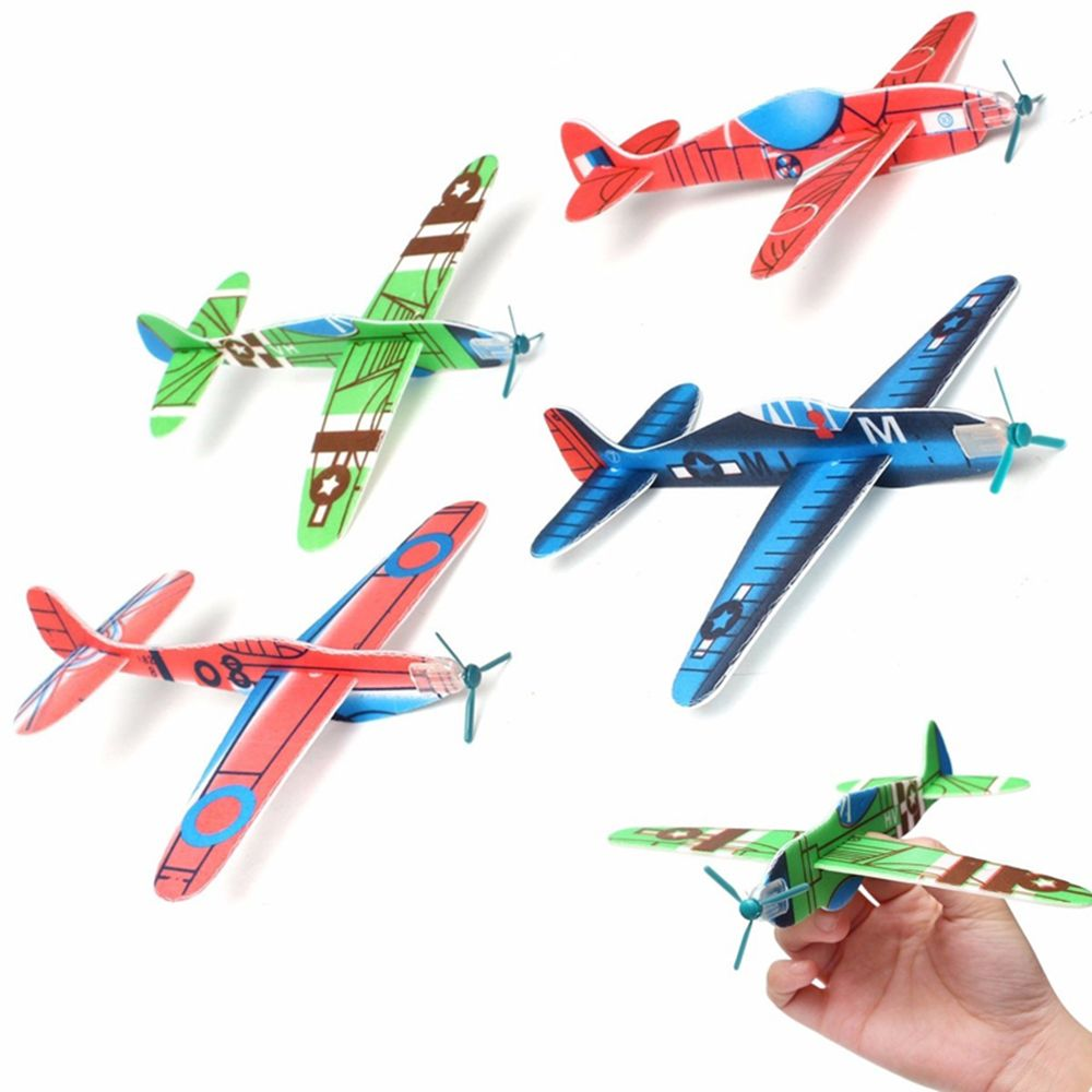Hot Sale 10 Pcs Polystyrene Coloured Flying Glider Planes Helicopter Boy Girl Toy Gift Birthday Party Bag Filler Classic