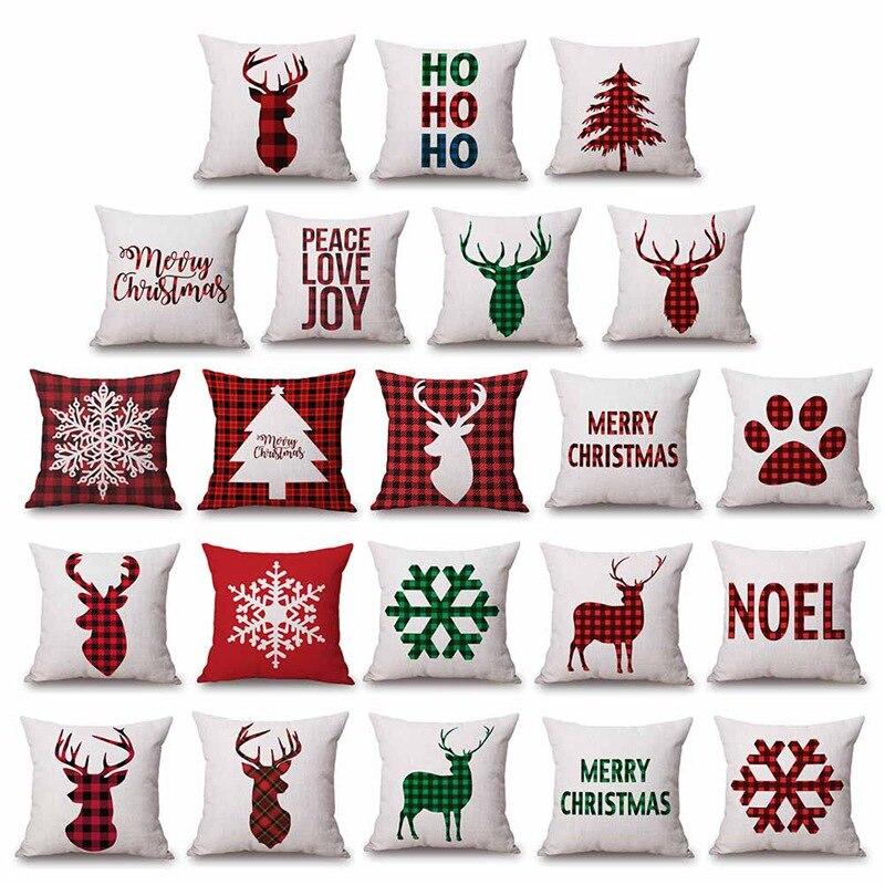 Carta de natal xadrez padrão fronha linho algodão cervos cor vermelha jantar cadeira travesseiro capa para dormir viagem presente