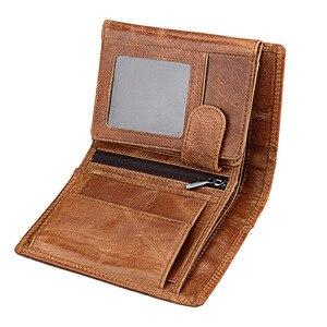 Image 4 - الرجال محفظة لينة حقيقية محفظة جلدية سعة كبيرة محفظة Vintage عملة جيب تتفاعل فرشاة حامل بطاقة محفظة طولية