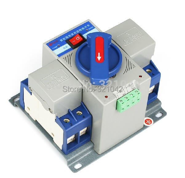 free shipping ATS 2P 63A 230V MCB type Dual Power Automatic transfer switch 1pcs micro circuit breaker 2p 63a 230v mcb type dual power automatic transfer switching equipment