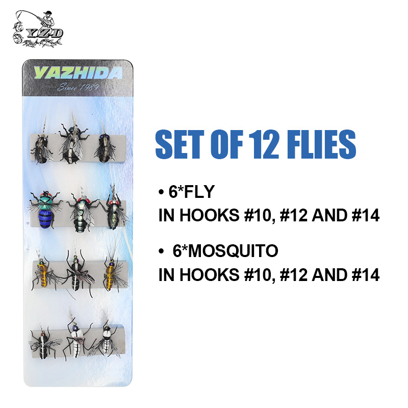 Forel Vliegvissen Lokken set 12 stks Mosquito Huisvlieg Droogvliegen - Visvangst - Foto 4