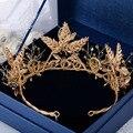 Recién Llegado de Hecho A Mano Magnífico Noble Oro Negro Crystal Corona Nupcial Tiaras de Novia Princesa Diadema accesorios para el Cabello de La Boda
