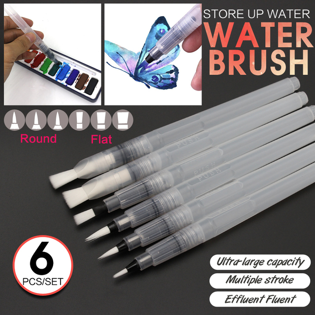 Bianyo 6Pcs Different Shape Large Capacity Barrel Water Pen Watercolor Painting Promotional Pen Calligraphy Drawing Art Supplies