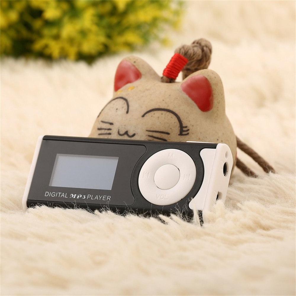 MP3 Player LCD Screen USB Cable Mini Clip Mp3 Player LED Light Stereo Super Bass Music Player for Micro SD TF Card16GB +Earphone