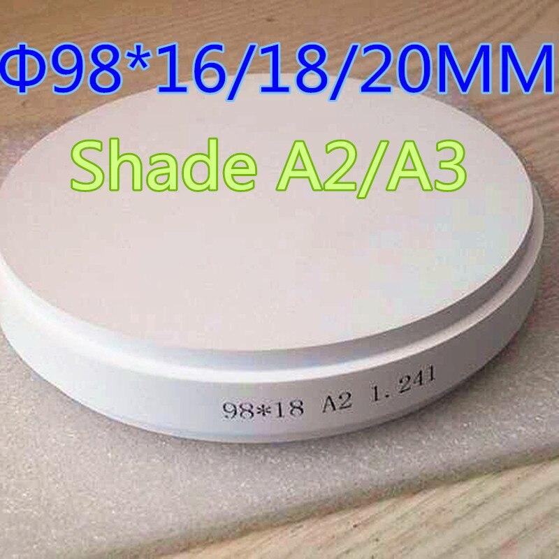 1 Piece OD98 16 18 20MM Pre Shade Color CAD CAM Milling Systems Dental Zirconia Blocks