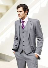Light Gray three Piece males's Wedding Tuxedos Bespoke Groom Suit Business Prom Suits Tow Buttons ( Jacket+Pants+Vest  )