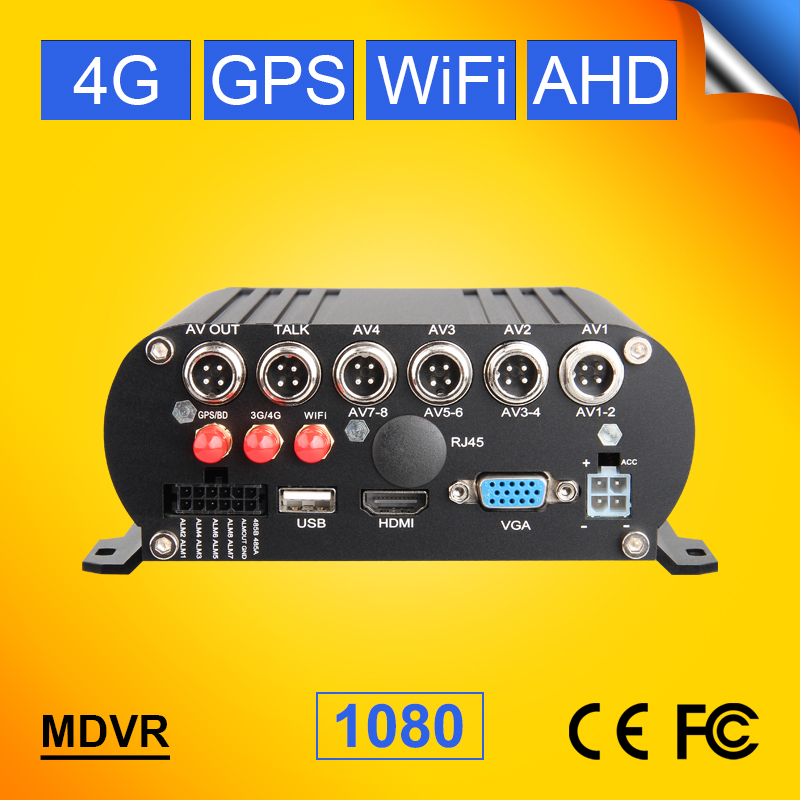 4CH 4G GPS WIFH H.264 AHD Bus/Truck Mobile Dvr GPS Tracker 4G Lte Network Real Time Surveillance Video Car Recorder I/O Alarm