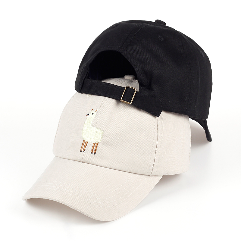 VORON new Unisex Alpaca Embroidery Adjustable Dad Hat men women cute Black beige Alpaca Baseball Cap 5