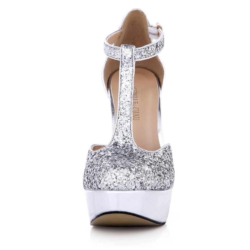 CHMILE CHAU Glitter Elegant Wedding Shoes Women Round Toe Thin High Heels Platform T strap Lady Pumps Zapatos Mujer 3463B y2 in Women 39 s Pumps from Shoes