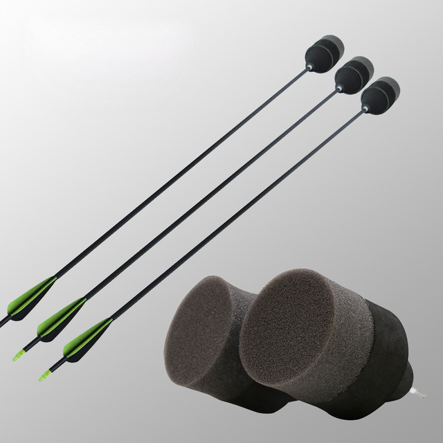 Funny  Safety Archery Arrows For CS Game Play Fiberglass Shaft Replaceable Sponge Arrowheads Broadhead  Shooting Hunting