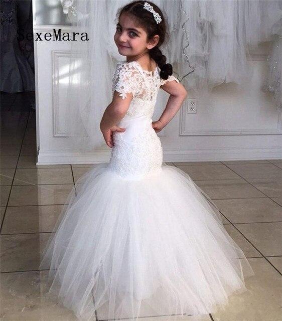 Lace Mermaid Flower Girl Dresses 2019 Little Princess Dress for Wedding  Kids Pageant Gowns Sheer Neck Short Sleeve Custom Made de9e6ca574c5