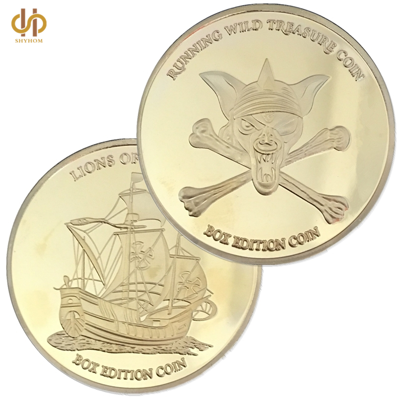 Skull Pirate Ship Lion of The Sea Running Wild Treasure Gold Challenge Coin Collection