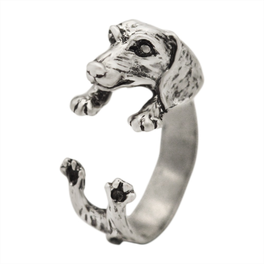 QIAMNI Handmade Dachshund Dog Puppy Animal Rings for Women Girls Pet Lover Gift Boho Chic Hippie Brass Knuckles Rings Jewelry
