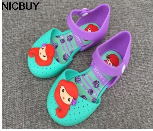 HOT Summer Children Shoes Girls Shoes Little Mermaid Princess Sandals Kid Designer Single Sandals Shoes Girls Sandals