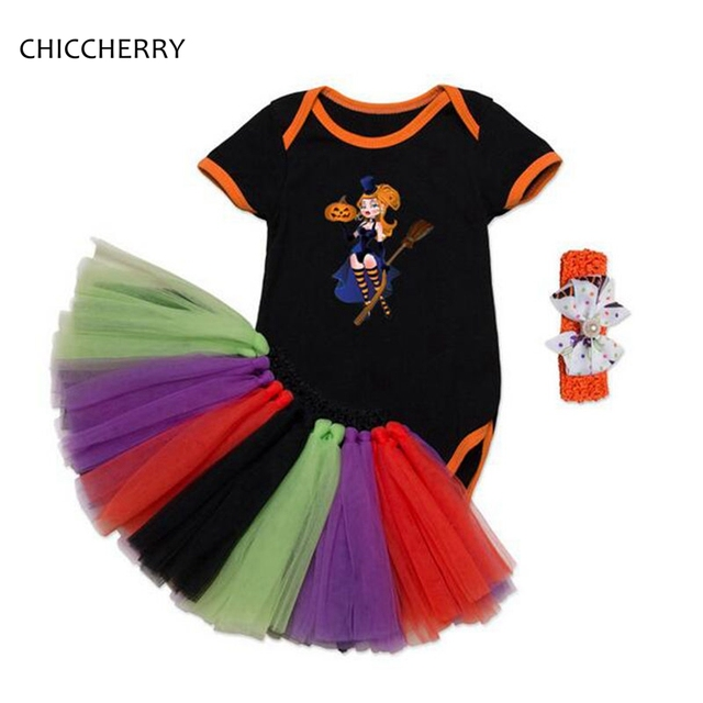 Pumpkin & Witch Baby Girl Halloween Party Outfits Cotton Infant ...
