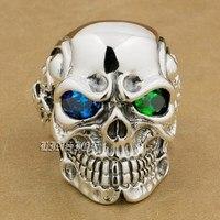 925 Sterling Silver Titan Skull Blue Green CZ Eye Mens Biker Ring 8V605