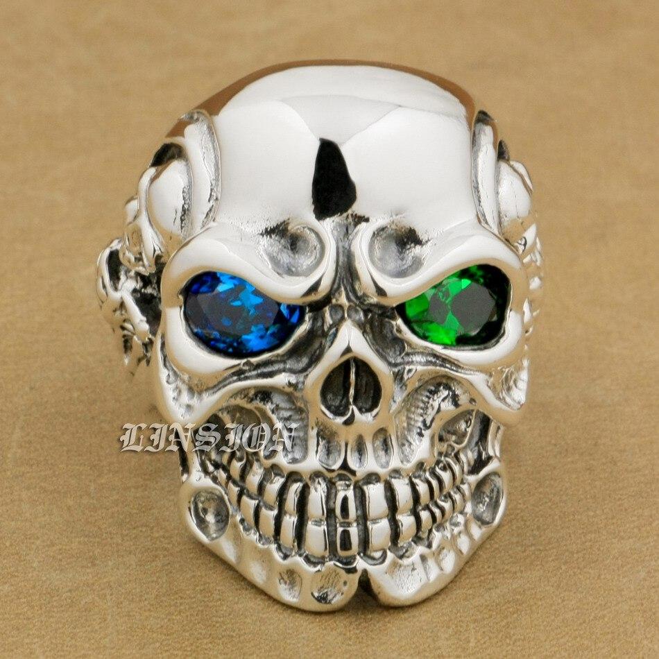 925 Sterling Silver Titan Skull Blue+Green CZ Eye Mens Biker Ring 8V605 titan asia silver 77 а ч пр