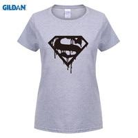 GILDAN Superman MAN OF STEEL S Logo Printed Women T Shirt T Shirt Fashion New O