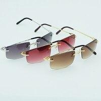 Square Rimless Sunglasses Men 2018 New Design High Quality Sunglass Metal Square Carter Sun Glasses Driving Lady Shade Eyewear