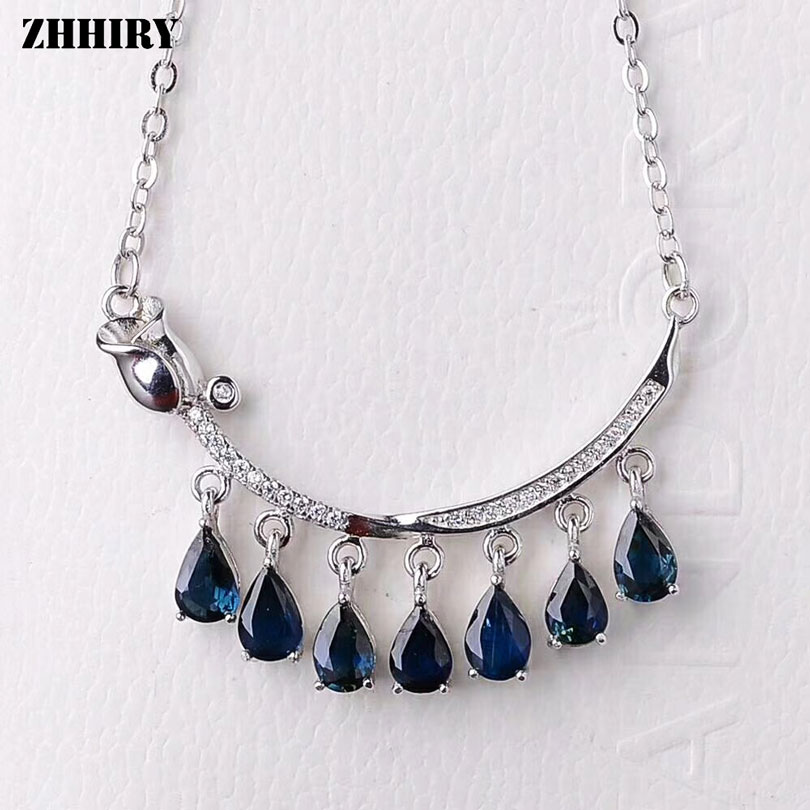 ZHHIRY Women Natural Sapphire Necklace Pendant Genuine Solid 925 Sterling Silver Fine Girls Gemstone JewelryZHHIRY Women Natural Sapphire Necklace Pendant Genuine Solid 925 Sterling Silver Fine Girls Gemstone Jewelry